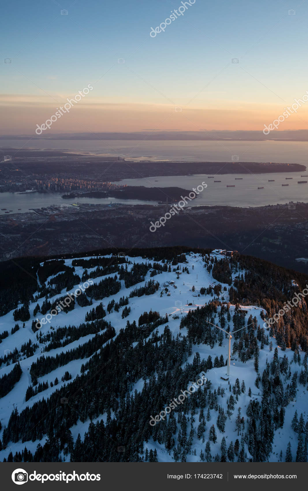 Beautiful Winter Sunset Grouse Mountain Vancouver City Background Picture Taken Stock Photo