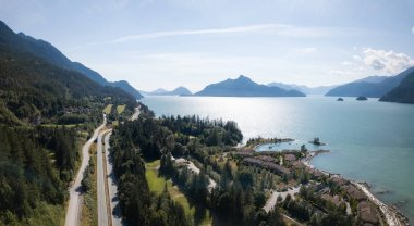 Aerial drone view of a beautiful landscape in Howe Sound. Taken North of Vancouver, British Columbia, Canada.