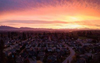 Aerial suburban neighborhood