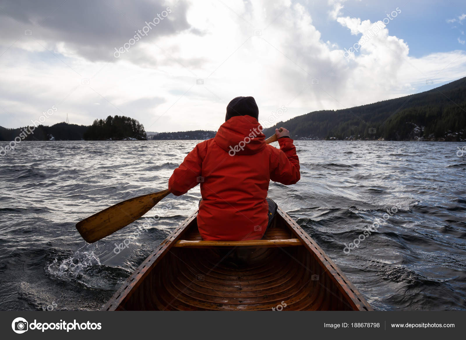 Man Wooden Canoe Paddling Windy Winter Day Taken Indian Arm Stock Photo