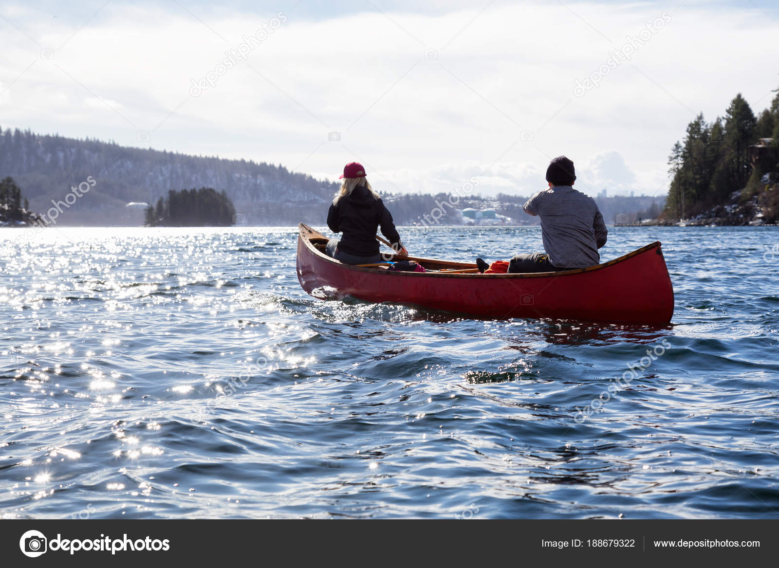 Couple Friends On A Wooden Canoe Are Paddling In An Inlet Surrounded By Canadian Mountains Taken Indian Arm Near Deep Cove North Vancouver