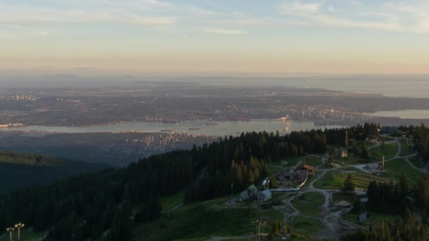 Timelapse Of A Vibrant And Colorful Summer Sunset Taken At The Top Grouse Mountain North Vancouver British Columbia Canada Stock Footage