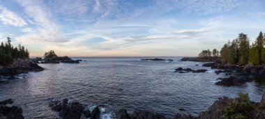Wild Pacifc Trail, Ucluelet, Vancouver Island, BC, Canada. Beautiful View of the Rocky Ocean Coast during a colorful and vibrant morning sunrise.
