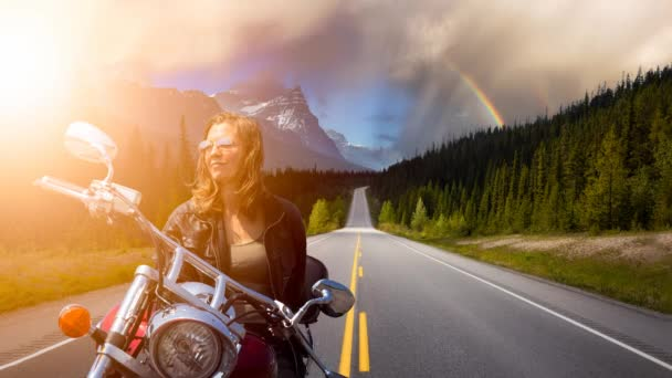 Cinemagraph Continuous Loop Animation of Woman on a Motorcycle