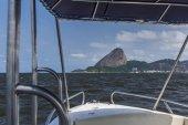 View from motor boat on Sugar Loaf Mountain in Guanabara Bay, Rio de Janeiro, Brazil