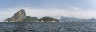 Beautiful view from the ocean to mountains and landscape in Rio