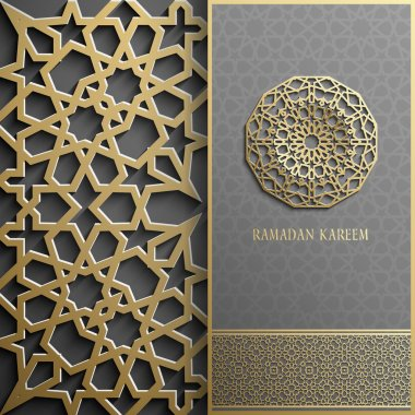 Ramadan Kareem greeting card,invitation islamic style.Arabic circle golden pattern.Gold ornament on black, brochure