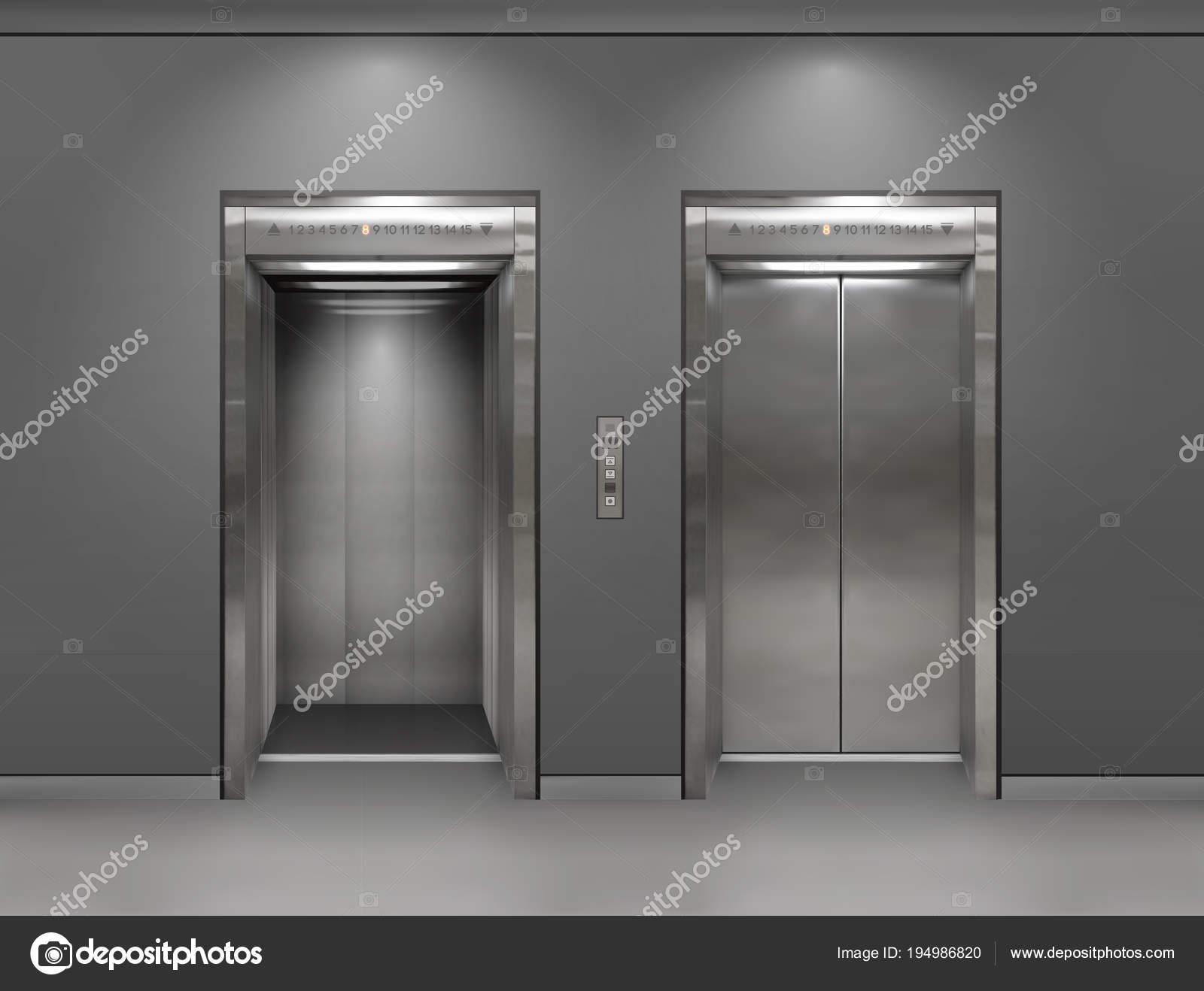 хром металлический офисное здание лифт двери открытые и