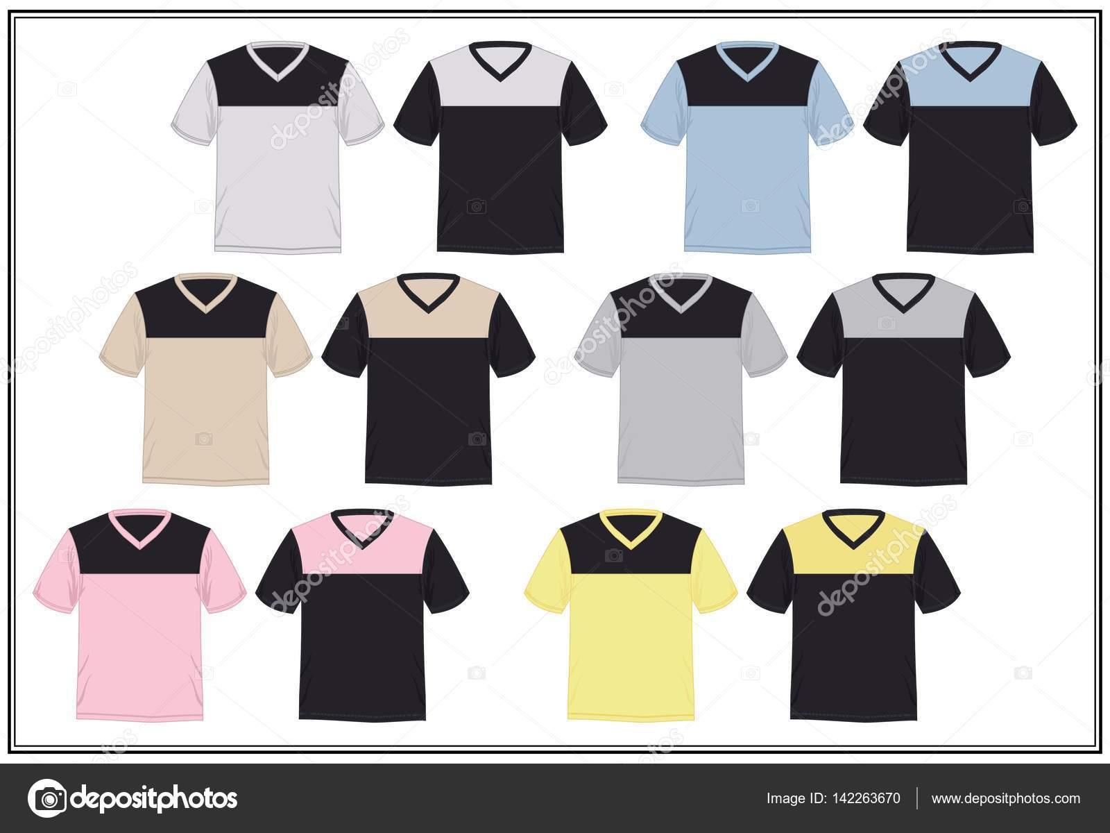 Grafiken bunt T-shirt Vorlage Kombination V-Ausschnitt Herren ...