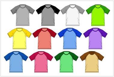 Template T-shirt raglan colorful , Vector.
