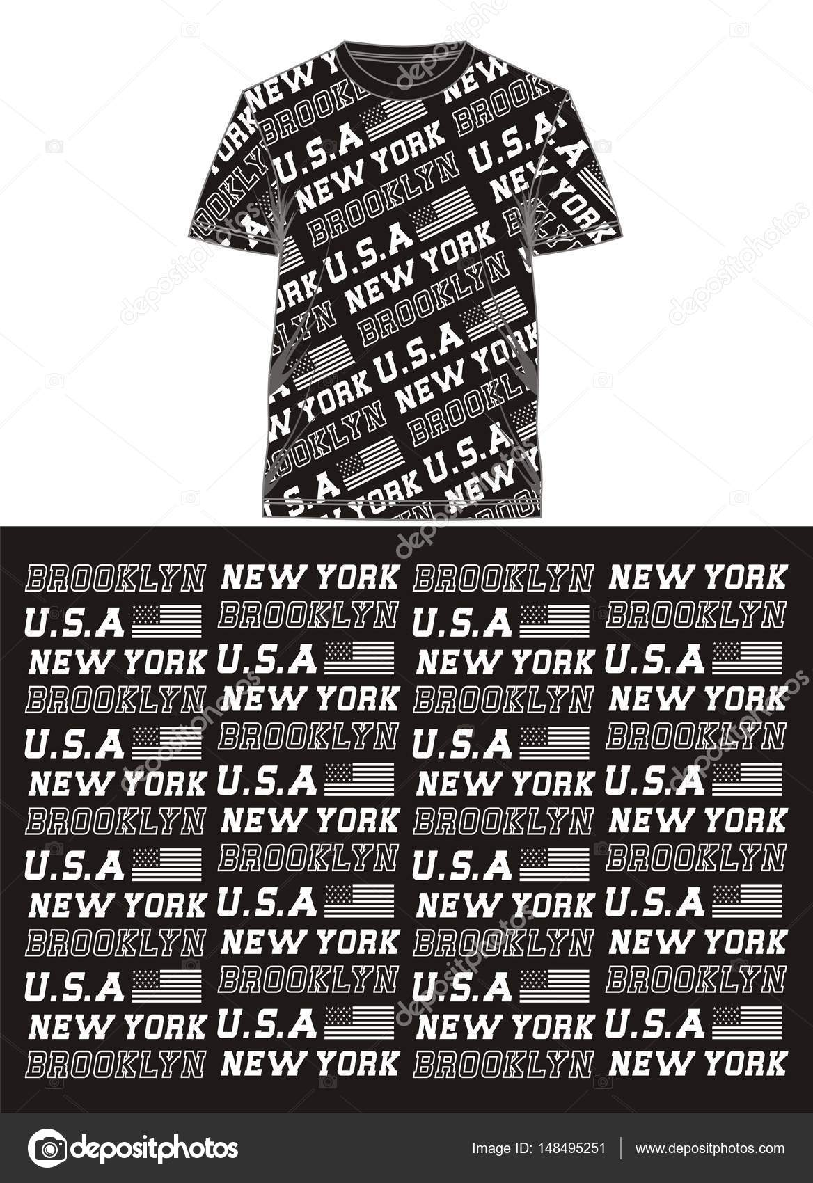 T Shirt Full Print New York Brooklyn Vector Stock Vector