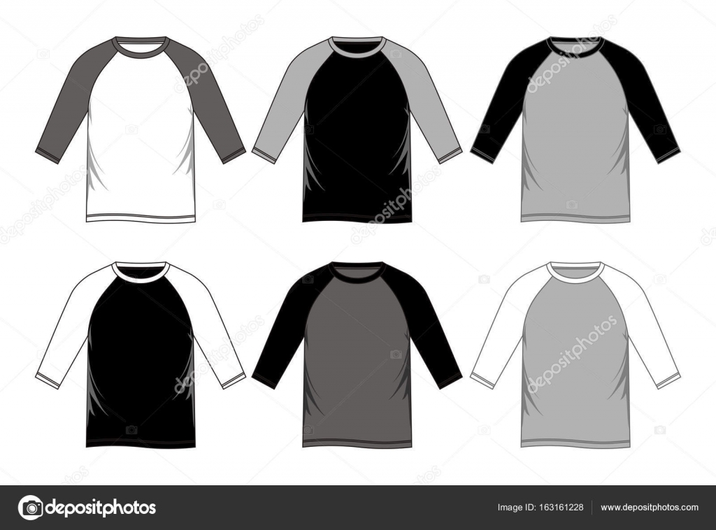 men\'s long shirt templates black white — Stock Vector © Haerafandi ...