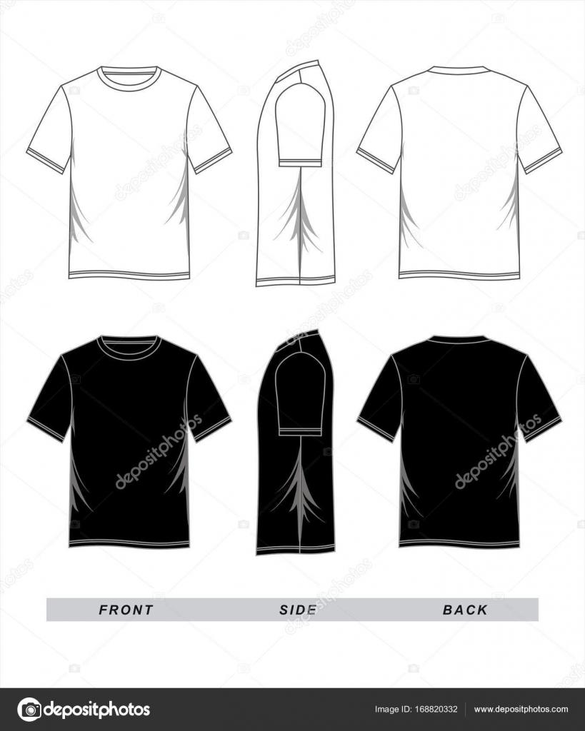 T Shirt Template Blank Black White Front Back Side Vector Image By Haerafandi
