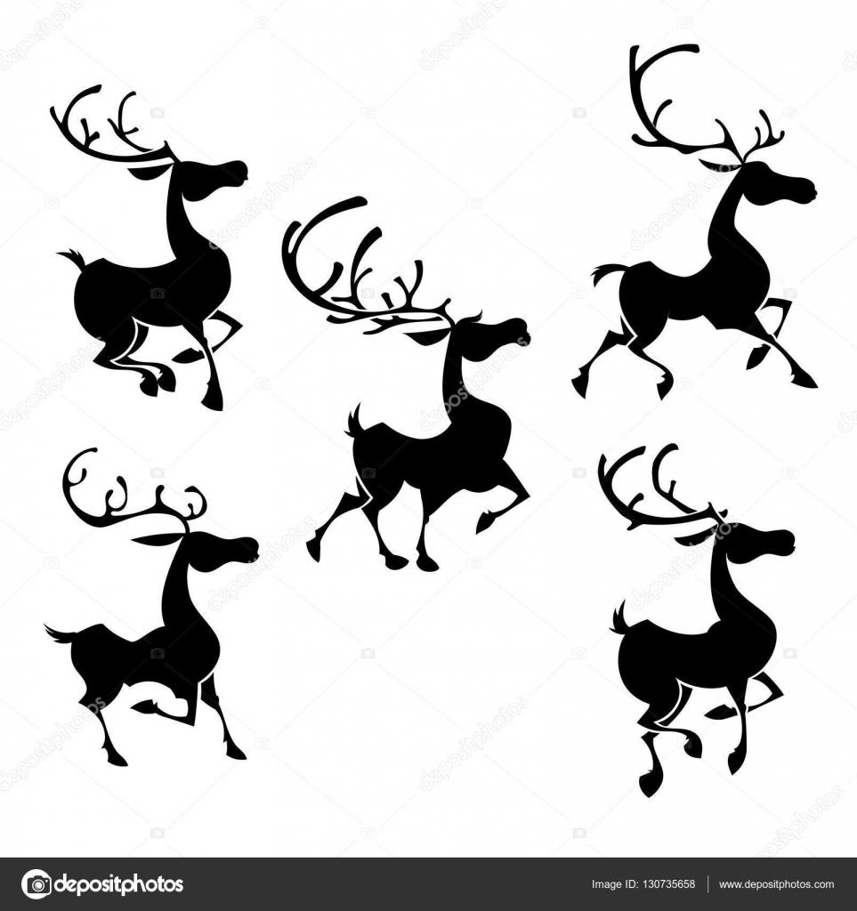Christmas reindeers silhouettes. Santa deer poses — Stock Vector ...