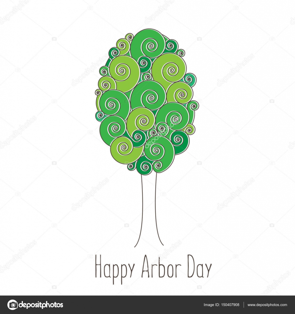 Día del árbol. Imagen de un árbol. Ilustración de vector para unas ...