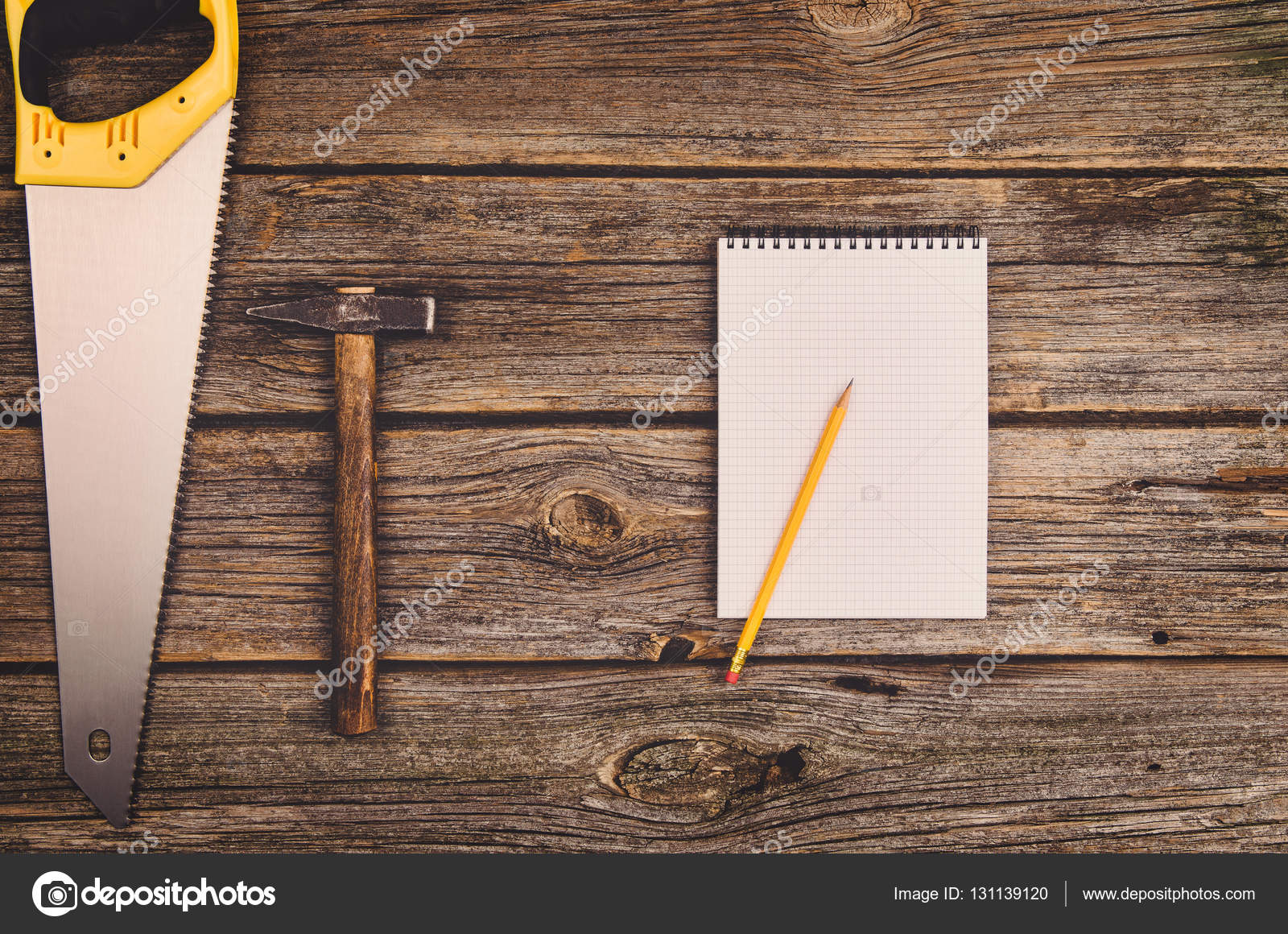 Construction Equipment And Tools Background On Wooden Table Concept Photograph Taken From Above Top View Do It Yourself Theme Photo By Wstockstudio