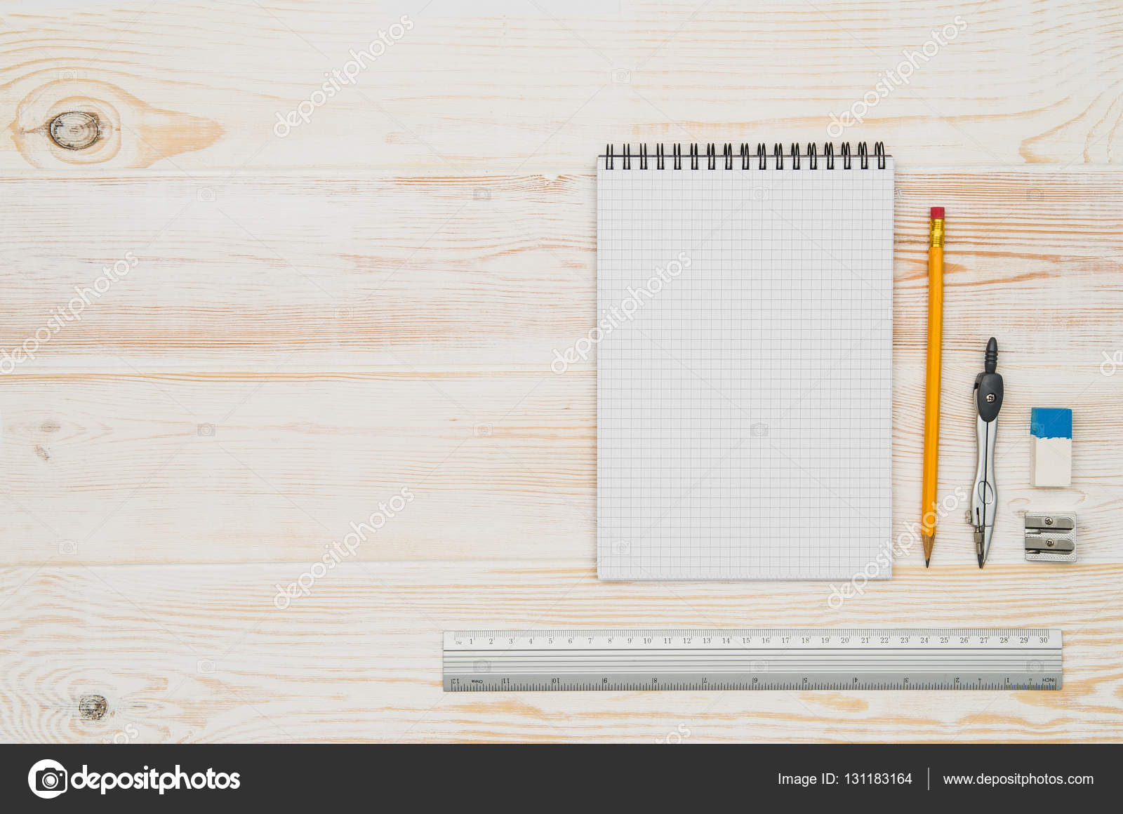 Office School Table Or Desk Seen From Above. Top View U2014 Stock Photo