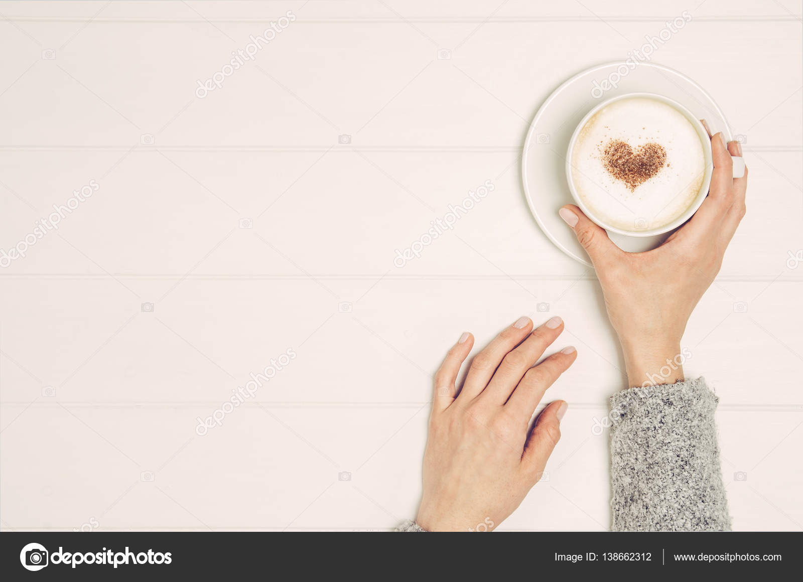 coffee table top view. Female Hand Holding Cup Of Coffee On Table, Top View \u2014 Stock Photo Table