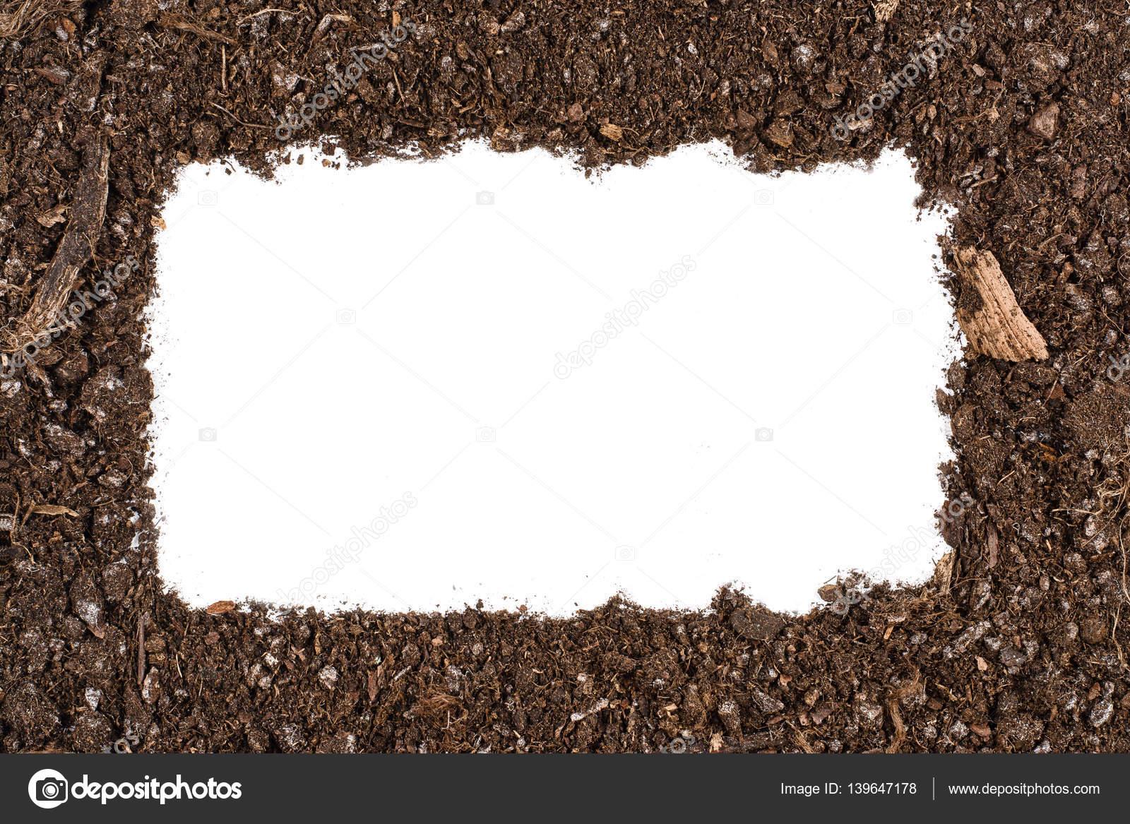 Jardín del suelo textura marco fondo vista superior aislada en ...