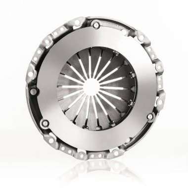 Car or automotive clutch on white background with reflection and copy space around product stock vector