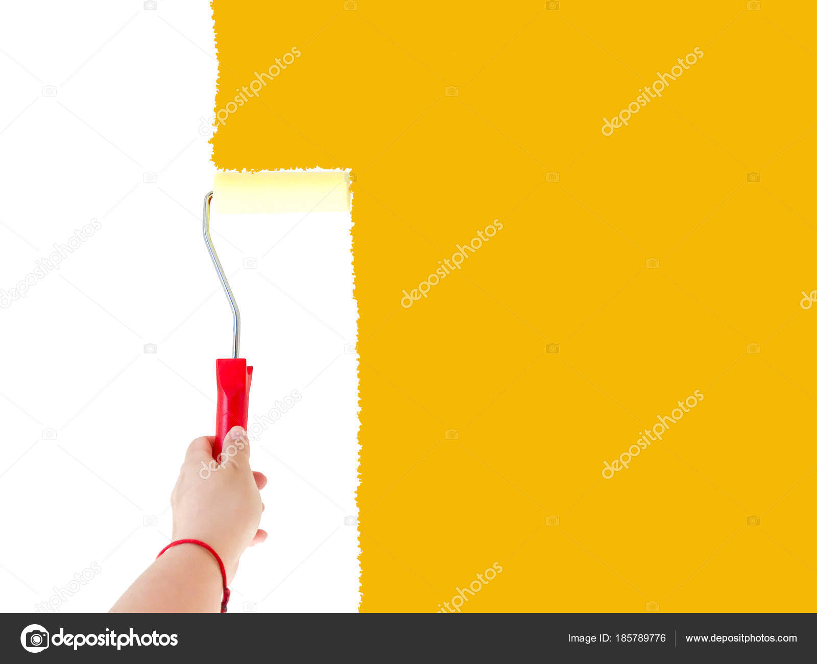 One person painting a white wall with a roller brush — Stock Photo ...