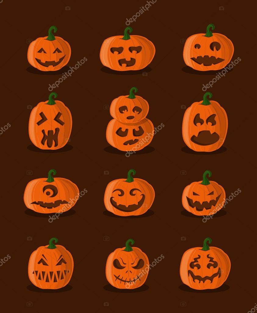 Gran diseo de calabazas para halloween Archivo Imgenes