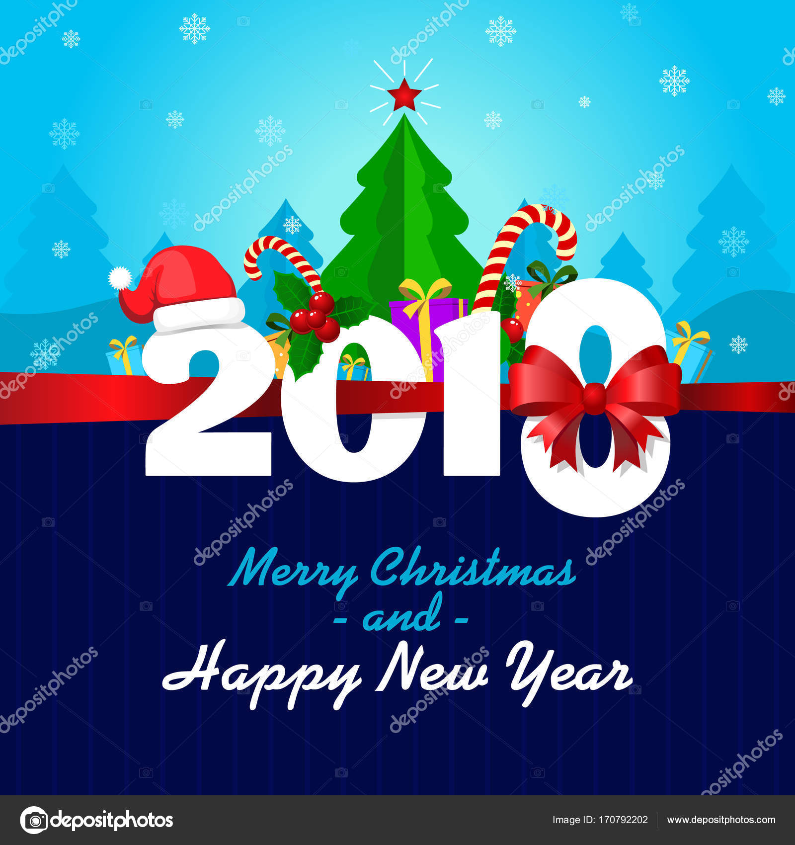 Greeting Card With Merry Christmas And A Happy New Year Merry 2018