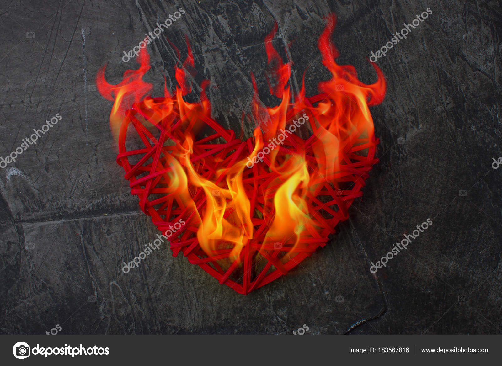 Flame Heart Real Love Heart Fire Theme Valentine Day Wedding