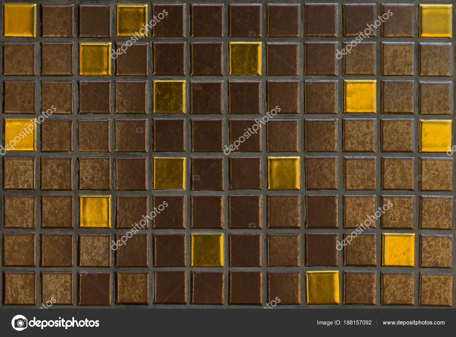 Gouden Mozaiek Tegels : Mozaïek tegels patroon achtergrond bruine tegel met gouden
