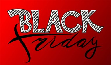 Banner with the inscription Black Friday on a red background. Vector illustration