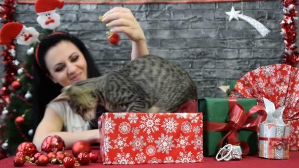 Mix čtyř scén, krásná dívka s kočkou v duchu dovolené obklopený novoroční dekorace