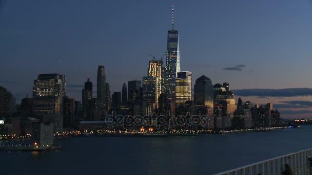 Pohled z Lower Manhattan v noci, to byla paráda