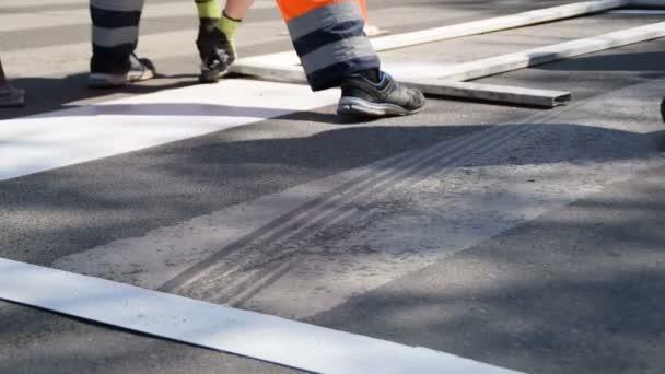 Yaya Geçidi Boyama Yol Ve Boyama Hatları Tamiri Arka Planda Trafik