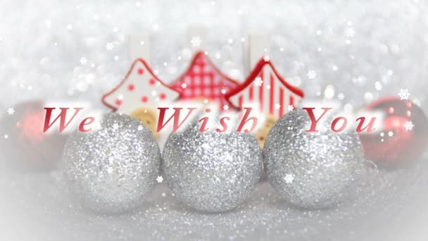 we wish you a merry christmas and a happy new year text, Christmas trees and ornaments with snow