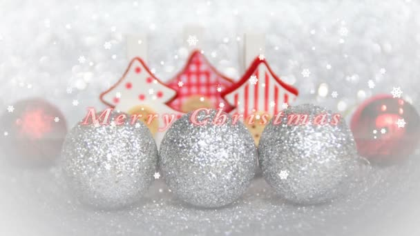 Christmas Ornaments and Merry Christmas Text , Christmas trees and ornaments with snow, Merry Christmas text