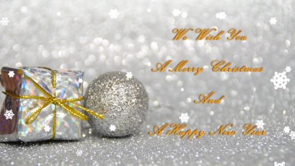 stříbrné a zlaté nový rok a vánoční výzdobu s efektem sněhu, přejeme Vám Veselé Vánoce a šťastný nový rok