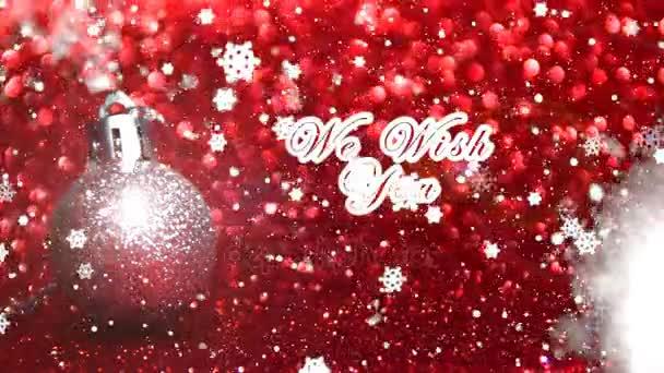 Přejeme vám veselé Vánoce a šťastný nový rok text, stříbrné koule s třpytkami a červeným pozadím