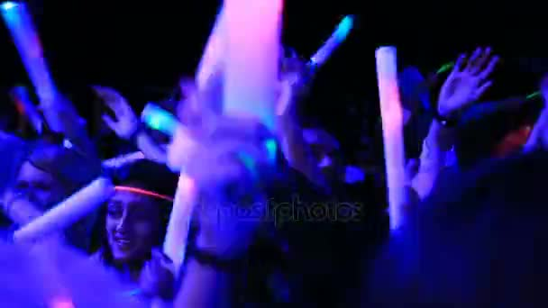 shining party, glow party, People at a party with Glow sticks, glow sticks party  people dancing, October 20, 2016 New York USA