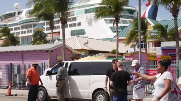 Bahamas - September 2017,Shuttle bus is waiting by the cruise terminal in the port
