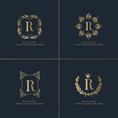 Gold R letter Royal logos
