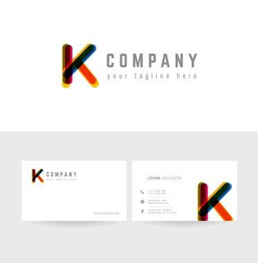 K letter logo business cards