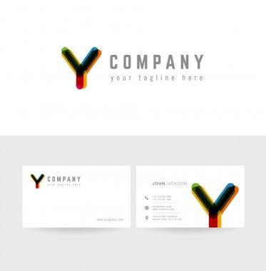 Y letter logo business cards