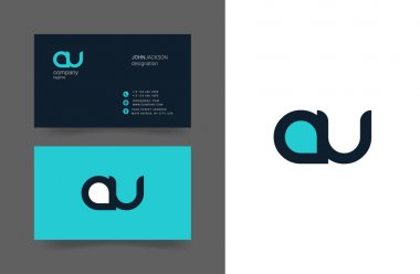 A & U Letters Logo Business Cards
