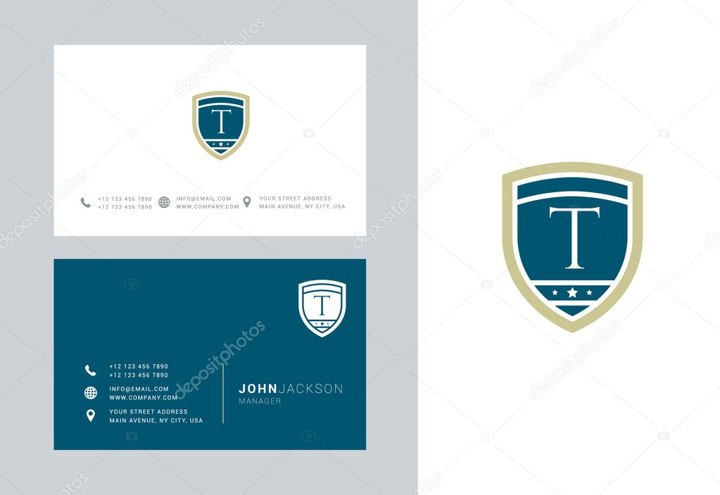 T Letter Logo With Business Cards Stock Vector C Brainbistro