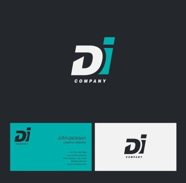 D & I Letter Logo, with Business Card Template Vector illustration stock vector