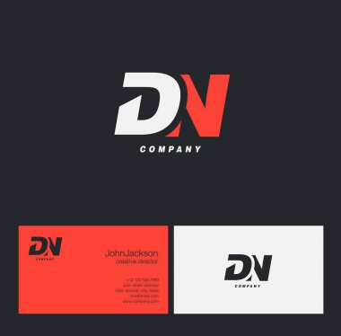 D & N Letter Logo, with Business Card Template Vector illustration stock vector