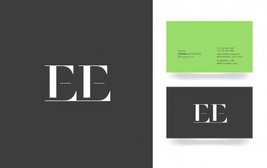 E & E Letter Logo, with Business Card Template Vector illustration stock vector