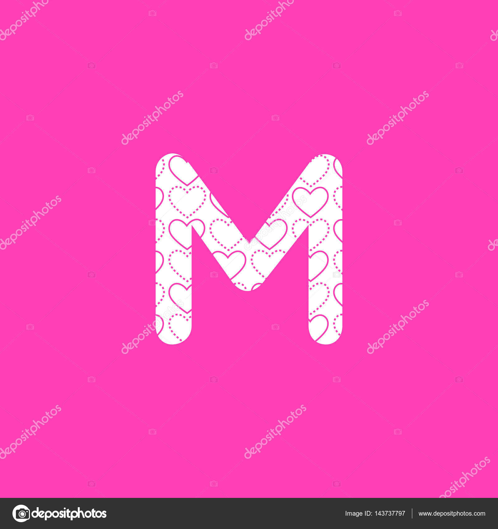 M Letter Logo with heart pattern — Stock Vector