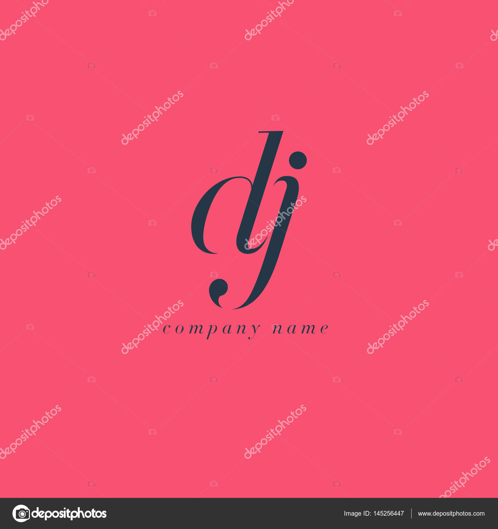 Vecteur De Logo Modele Carte Visite Lettres Communes DJ Italique Par Brainbistro