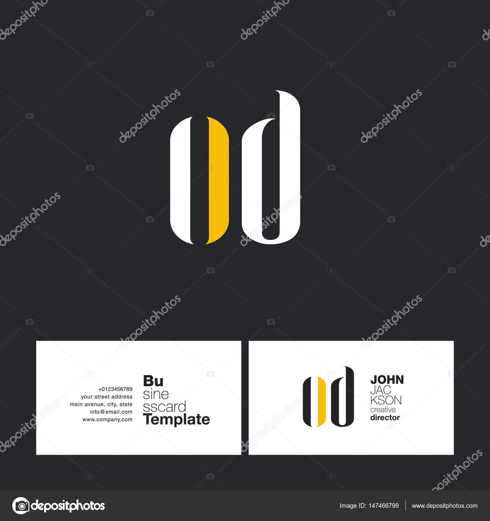 od letters logo business card stock vector a c brainbistro 147466799